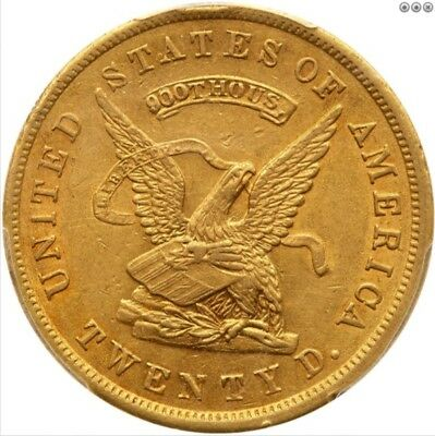 1853 U.S. Assay Office San Francisco $20 Territorial Gold, 900 THOUS. PCGS AU-55