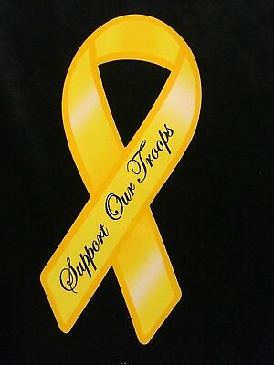 Yellow Support Our Troops Ribbon Sticker Decal