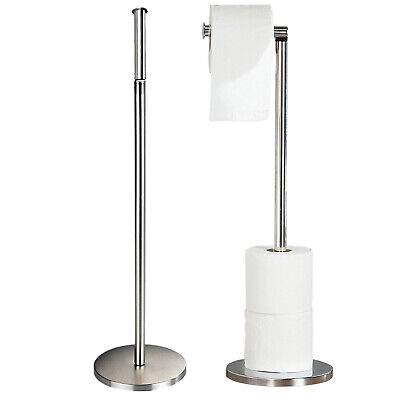 2 In 1 Free Standing Chrome Frame Bathroom Toilet 4 Paper Roll Holder Dispenser