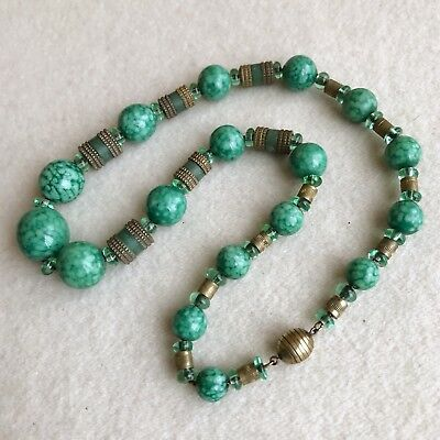 French VINTAGE Art Deco LOUIS ROUSSELET Peking GLASS Galalith BEADS Necklace