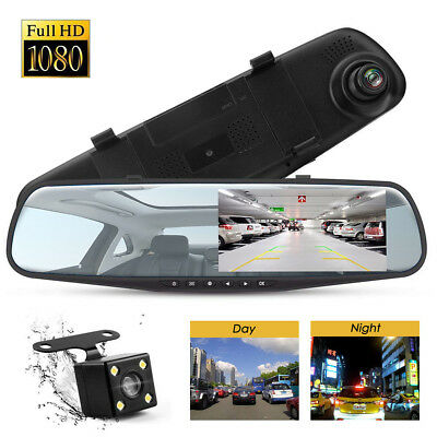 4.3'' 1080P Dual Lens Car Auto DVR Mirror Dash Cam Recorder+Rear View