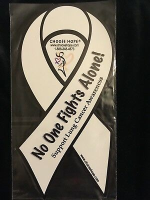 White Lung Cancer Awareness Ribbon Car Magnet Decal Heavy Duty Waterproof