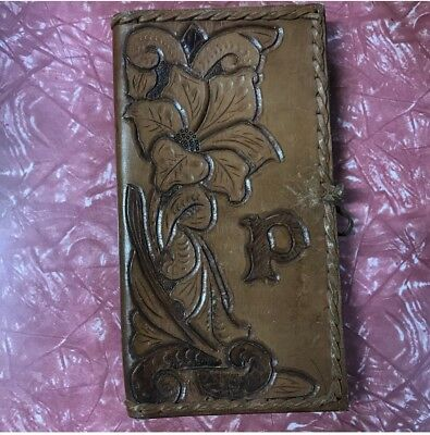 VINTAGE Leather Tooled Wallet Purse 1970s 1980s Retro Folder Check Book Holder