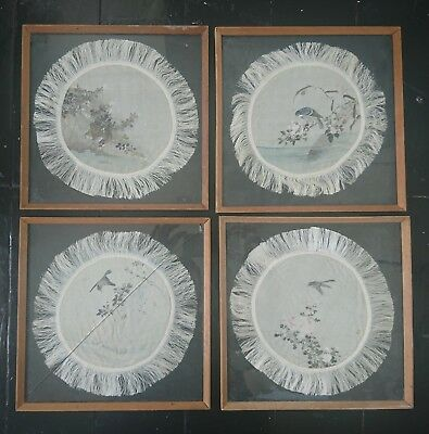 4 Framed Antique / Vintage Chinese Hand Painted Silk Coasters