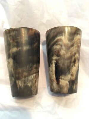 Pair of Antique Scottish Carved bovine horn vintage stirrup cup drinking beaker