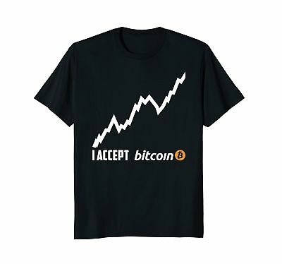 Mens I Accept Bitcoin Millionaire Digital Cryptocurrency T-Shirt Medium Black