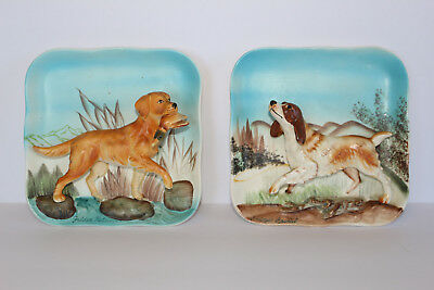 2 Vintage Napco 3D Wall Plaques Hunting Dogs Golden Retriever & Springer Spaniel