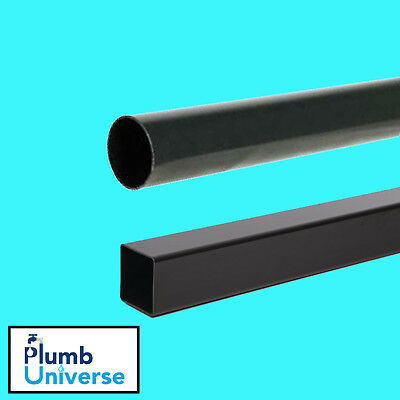 Rainwater Downpipe 1 Metre Lengths Black Square Or Round 68mm Pipe