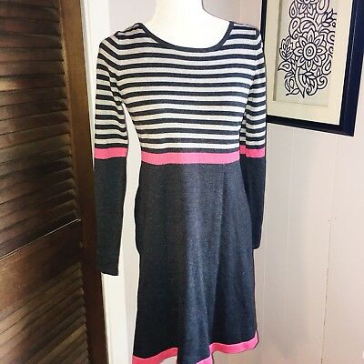 Eliza J Medium Gray Pink Stripe Fit Flare Sweater Dress Long Sleeve