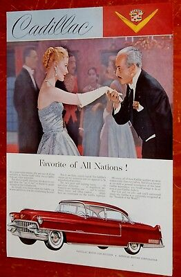 Classy 1955 Cadillac Fleetwood 60 Special In Red Vintage Ad / American 50S Retro