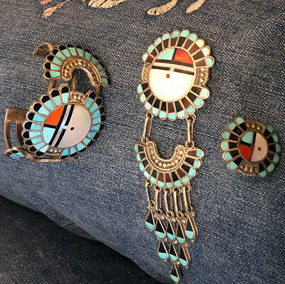 Zuni Roger & Lela Cellicion Set Bracelet Pin Pendant Ring Mosaic Inlay Sun Face