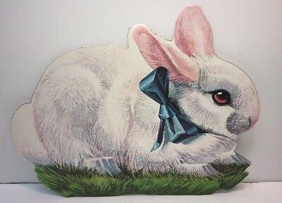 Vintage Easter Bunny Diecut Paper Decoration Blue Bow