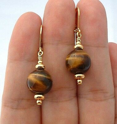 Quality Brown Tiger Eye Gold Earrings -- Leverbacks   A0212
