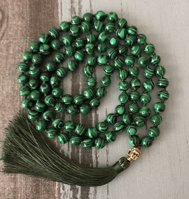 Green Malachite 108 beads necklace beads prayer beads fringed
