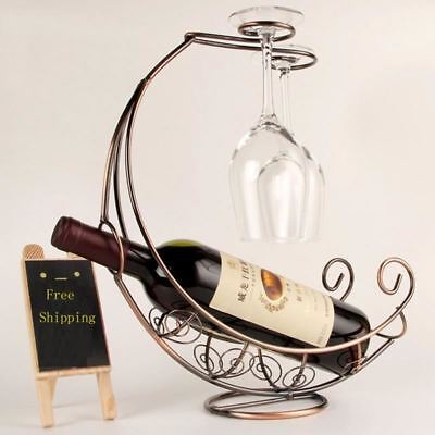 Metal Wine Bottle Rack Hanging Glass Holder Pirate Ship Shape Bar Decor