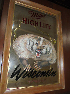 Miller High Life Mirror Wisconsin The Badger State