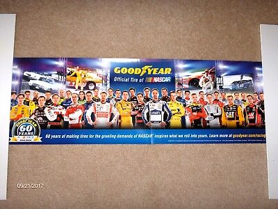 "GOODYEAR 60 YEARS 1954-2014  POSTER 11.25"" x 34""  ALL NASCAR DRIVERS  J. Johnson"