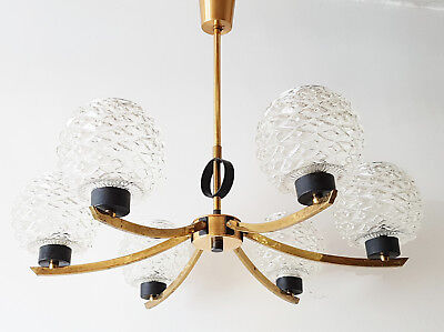 Ceiling Chandelier 5 Branches 1950 Vintage Brass Glass & Metal 50'S Rockabilly