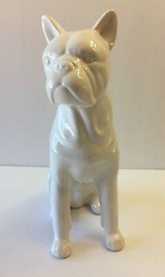 White Tall Sitting Boston Terrier Figure