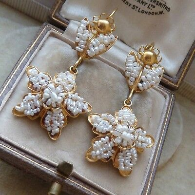 Georgian Style 18Ct Gold Seed Pearl Earrings - Beautiful Wedding Earrings