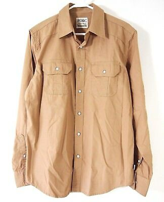 b3c656f586c Paper Denim   Cloth Mens Shirt M Beige Long Sleeve Button Front 100% Cotton