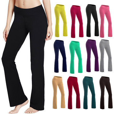 Women Bootcut Yoga Pants Bootleg Flare Trousers Workout Casual Fitness Running