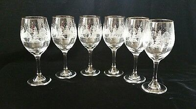 "6 Arby's Winter White Snow Scene Holiday Wine Glasses w/ Gold Rims 8.25"" Tall"