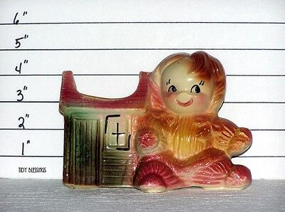 Vintage American Bisque Pottery Yarn Doll Planter Pink 50's