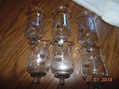 6 Tall Home Interiors Etched flowers Flared Clear Votive Cups smoothed top lot