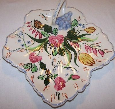 Blue Ridge VERNA Maple Leaf w/Handle Relish Tray Southern Potteries 10 1/2""