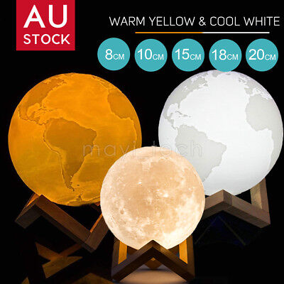 Dimmable 3D Moon Lamp USB LED Earth Night Light Touch Sensor Desk Table Gift AU