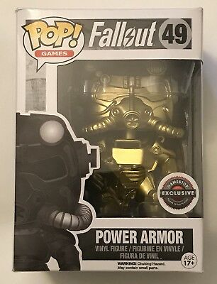 Funko POP Games: Fallout: GOLD POWER ARMOR #49 GameStop Exclusive! w/Protector!