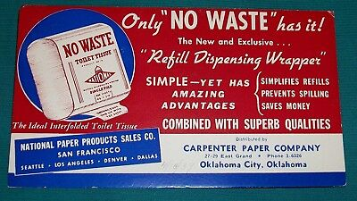 VINTAGE 30s BLOTTER NO WASTE TOILET TISSUE NATIONAL PAPER PRODUCTS 1939