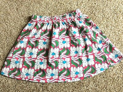 Hanna Andersson Pink Blue Green Floral Cotton Skirt Girls Size 110 5-6 EUC