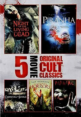 Used Dvd - Night Of The Living Dead + Piranha + Little Shop Of Horrors + Maniac