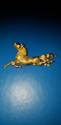Vintage Leaping Horse Pin Brooch Goldtone with Red Stone Eye