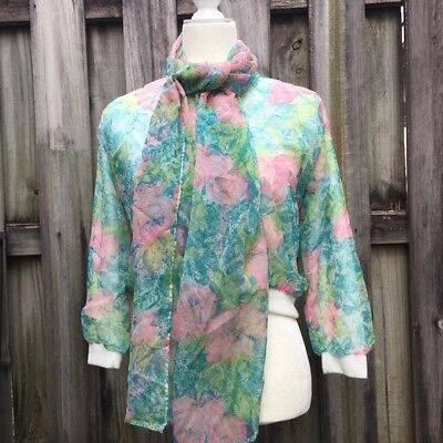 VTG Women Harry M Goodstein Ste. Laurent Floral Teal Pink Cardigan
