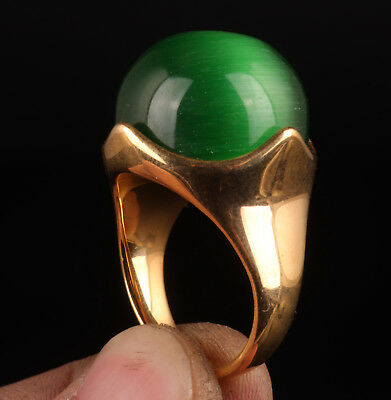 Jewelry Brass Ring Beautifully Inlaid Large Green Jade Crafts Ladies Collection