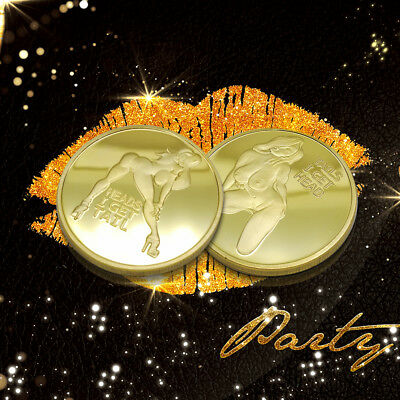 PinUp Heads and Tails Good Luck Challenge Gold Coin Gift for Man
