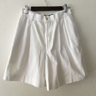 Vintage 90s Polo Ralph Laurent High Waisted White Cotton Shorts Size 6 Waist 27""
