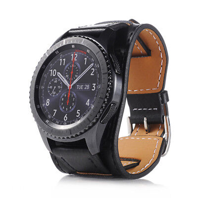 Leather Wrist Strap Watch Band For Samsung Gear S3 Frontier / Classic Black
