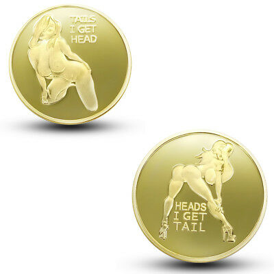 Sexy Pin Up Good Luck Heads & Tails Challenge  Gold Coin Art US