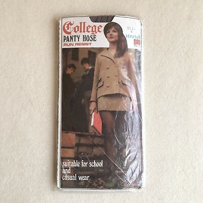 Vintage 60s 'COLLEGE' Stretch BRI Nylon SHEER Grey PANTYHOSE ~ Student MODEL!