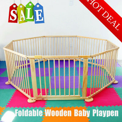 Baby Child Children Foldable Playpen Play Pen Room Divider Wood 6 Side Panel NEW