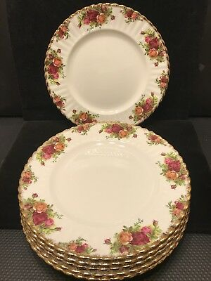Set of  6 Vintage Royal Albert Country roses Large Dinner Plates Made In England