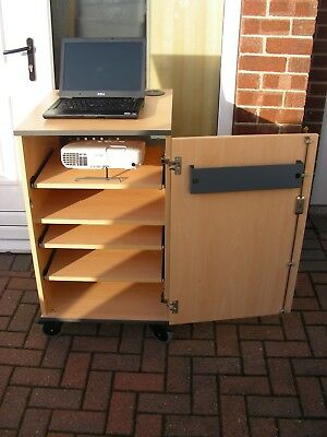 Multi-Media Mobile Lectern Security Projector Computer Storage Unit Centre Beech