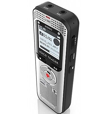 "Philips DVT2000 Voice Tracer Digital Recorder - 1.30"" - Silver/black"