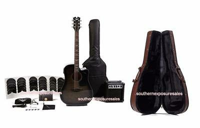 Keith Urban Acoustic-Electric Ripcord 44-pc Guitar Pkg Black Flame + Hard Case
