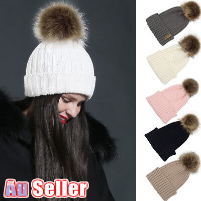 Winter Warm Faux Fur Bobble solid color Women Knitted Beanie Ski Hat POM Cap