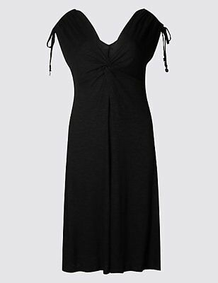 M & S COLLECTION BLACK or  RED KNOT FRONT VEST BEACH DRESS